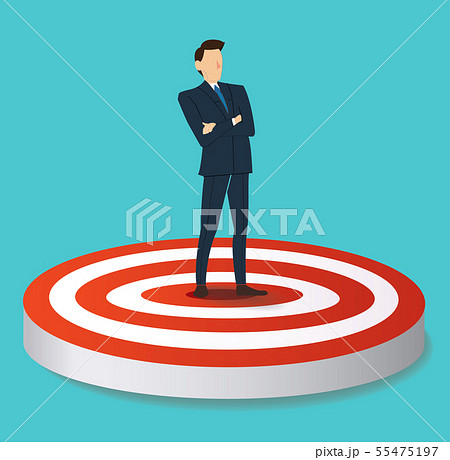 businessman standing on target archery 55475197