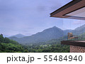 Modern house exterior with mountain view 3d render 55484940