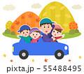 家族 紅葉 横向き ドライブ イラスト 55488495