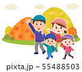 家族 秋の山 ハイキング イラスト02 55488503