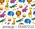 カラフルな水彩の動物と楽器の柄 55497212