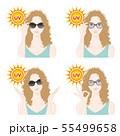 紫外線対策をする女性のイラスト 55499658