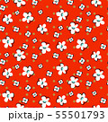 Floral seamless vector pattern. Hand drawn sketched flowers retro red dotted texture. 55501793