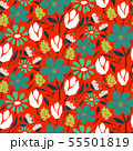 Cutout style flower seamless vector pattern. 55501819