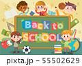 Back to school and blackboard illustration 55502629