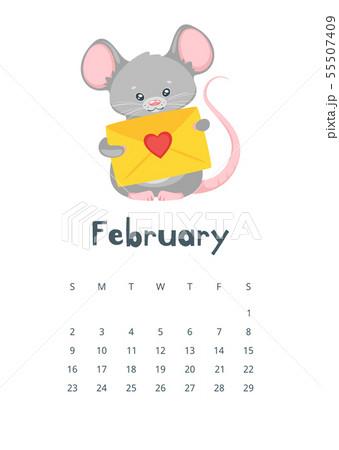 February calendar flat vector illustration 55507409