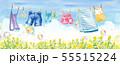 青空の下で干す洗濯物いろいろとシャボン玉(スカート、タオル、靴下、パンツ、デニム、子供服、キャミソー 55515224