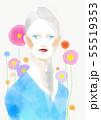 青い衣装の女性(水彩風) 55519353