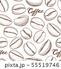 Coffee tile pattern. Coffee beans cafe background 55519746