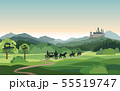 Castle, carriage, knight. Mountains Landscape. 55519747