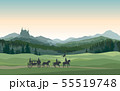 Castle, carriage, knight. Mountains Landscape. 55519748