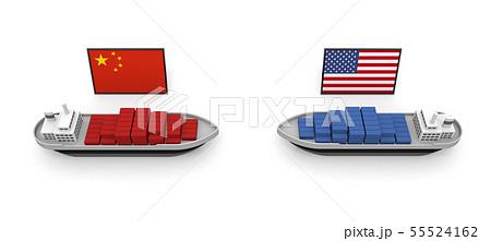 アメリカ 中国 貿易問題 関税 3Dイラスト 55524162