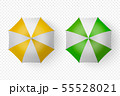 Vector 3d Realistic Render White, Yellow, Green Strip Blank Umbrella Icon Set Closeup Isolated on 55528021