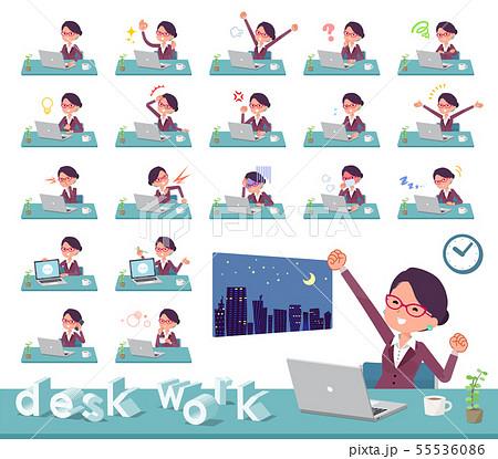 flat type glasses office women_desk work 55536086