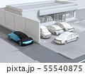 見通しの悪い道路に走行する車が駐車場から出る車を探知し急停車して事故を回避。輪郭線付きイラスト 55540875