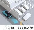 見通しの悪い道路に走行する車が駐車場から出る車を探知し、事故を回避する。先進運転システムコンセプト 55540876