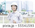 女性作業員 現場監督 作業服 55541593