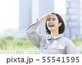 女性作業員 現場監督 作業服 55541595