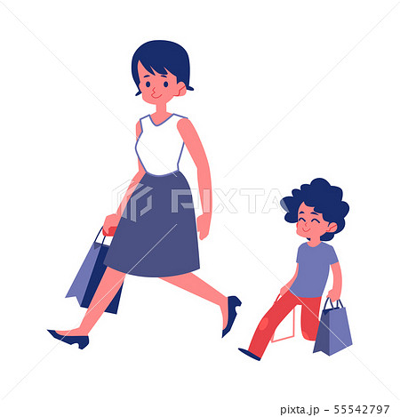 Polite child with good manners helping his mother flat vector isolated on white. 55542797