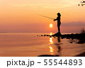 Woman fishing on Fishing rod spinning in Norway. 55544893