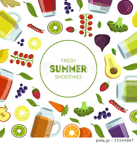 Fresh Summer Smoothies Banner Template with Organic Vegetables, Fruits and Berries Seamless Pattern 55544907