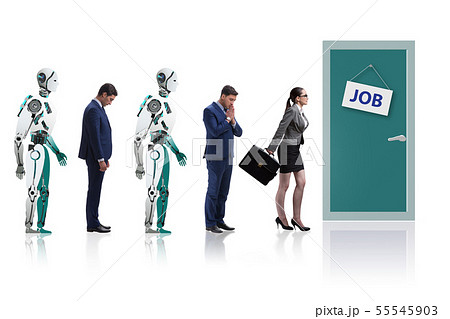 Woman man and robot competing for jobs 55545903