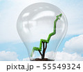 Green energy concept with green line graph in light bulb 55549324