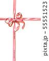 リボンの十字掛け イラスト(水彩画) 55551523