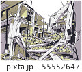 Collapsed building earthquake explosion fire 55552647