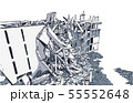 Collapsed building earthquake explosion fire 55552648