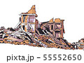 Collapsed building earthquake explosion fire 55552650