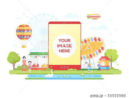 Amusement park - flat design style vector illustration 55553560