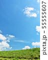 夏の青空と草原 55555607