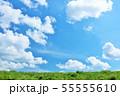 夏の青空と草原 55555610