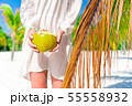 Young woman drinking coconut milk on hot day on the beach. Closeup coconut in female hands 55558932