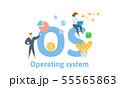 OS, Opereting System. Concept with people, letters and icons. Flat vector illustration. Isolated on 55565863