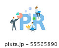 PR. Concept with people, letters and icons. Flat vector illustration. Isolated on white background. 55565890