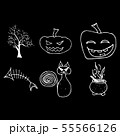 Halloween doodle set isolated on black background. 55566126