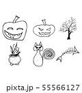Halloween doodle set isolated on white background. 55566127
