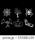 Halloween doodle set isolated on black background. 55566130