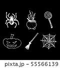 Halloween doodle set isolated on black background. 55566139