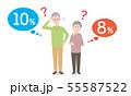 軽減税率と悩む夫婦のイメージ 55587522