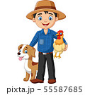 Cartoon young farmer with hen and dog 55587685