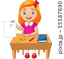 Cartoon little girl holding paper with A plus grad 55587690