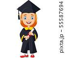 Cartoon girl in graduation costume  55587694
