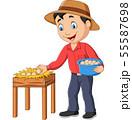 Cartoon farmer holding a basket of eggs  55587698