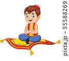 Cartoon aladdin travelling on flying carpet 55588269