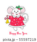 Cute vector Mouse character in red dress. 55597219