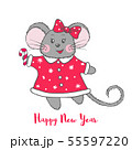 Cute vector Mouse character in red dress. 55597220