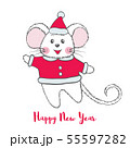 Cute Mouse character in Santa Claus costume. 55597282